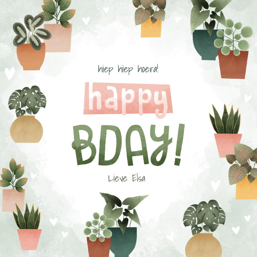 Verjaardagskaarten - Hippe verjaardagskaart met plantjes, hartjes Happy Bday!