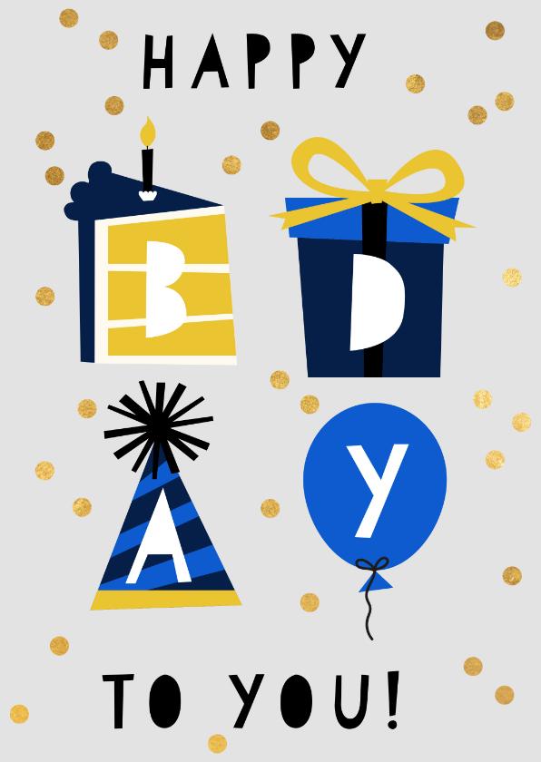 Verjaardagskaarten - Hippe verjaardagskaart taart, cadeau, hoed en ballon