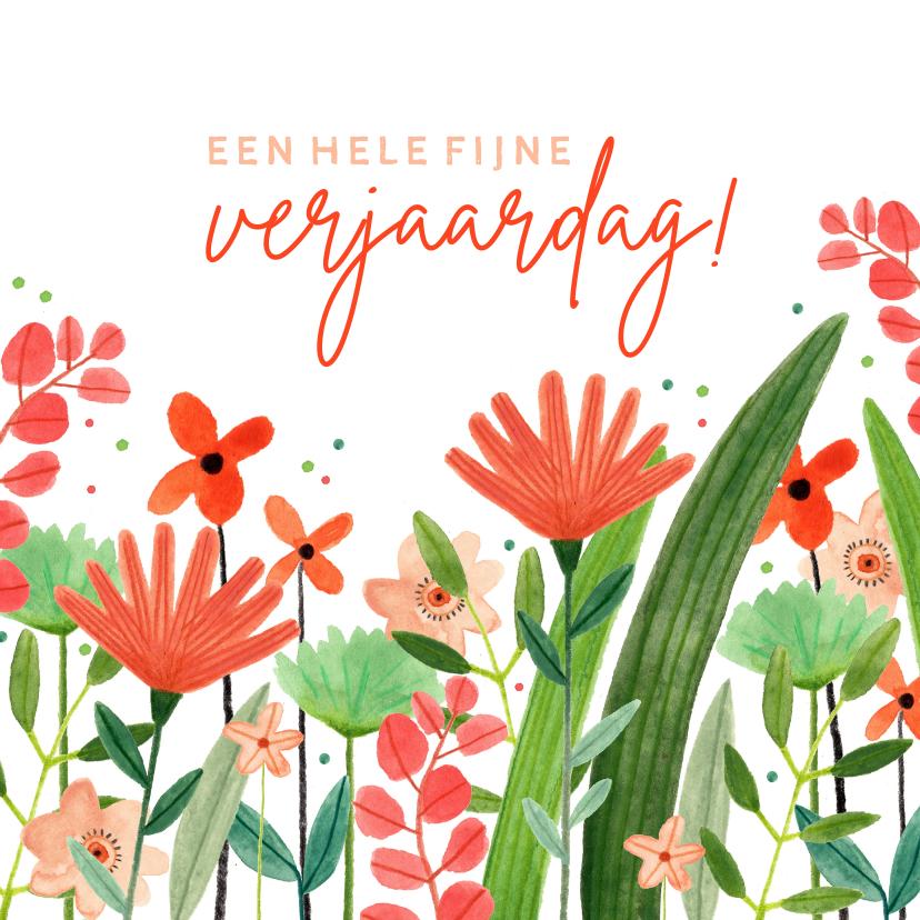 Verjaardagskaarten - Hippe verjaardagskaart vrouw bloemenweide rood groen