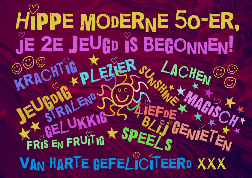 verjaardag 50 jaar sarah Hippie 50 jaar   Verjaardagskaarten | Kaartje2go verjaardag 50 jaar sarah