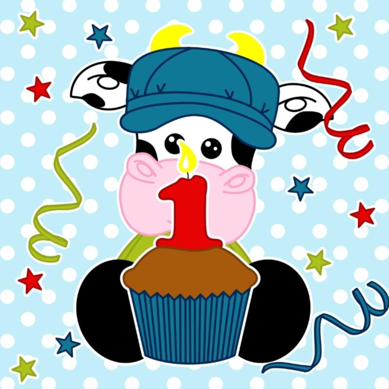 Verjaardagskaarten - Hoera 1 jaar met koe