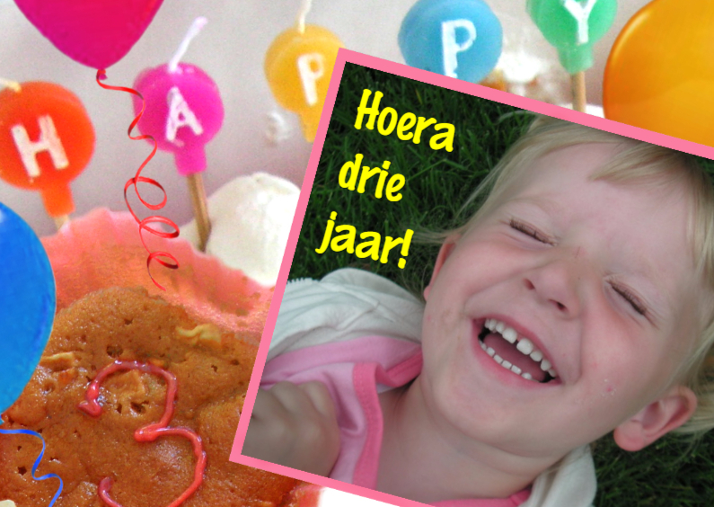 Verjaardagskaarten - Hoera 3 jaar leeftijdskaart