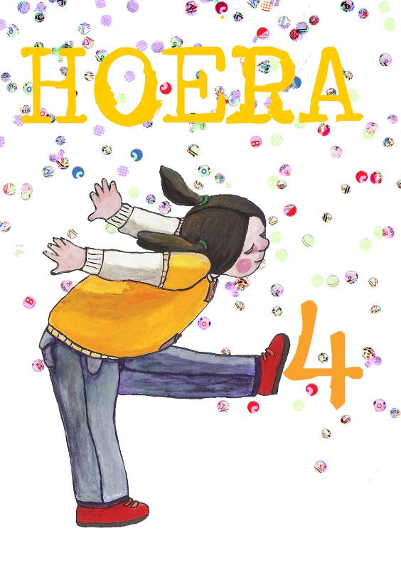 Verjaardagskaarten - hoera 4jaar hoera2