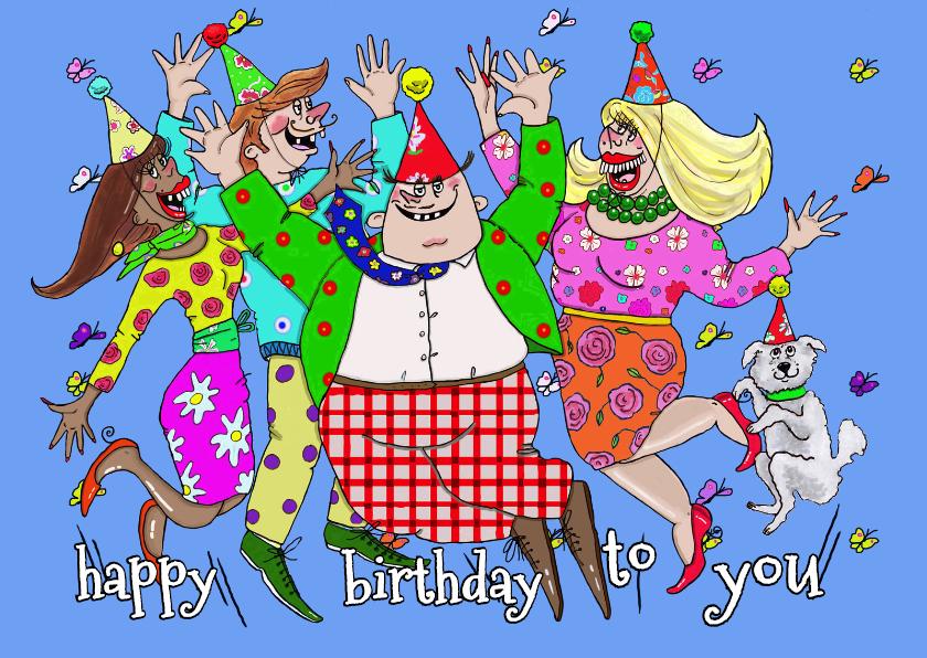 Verjaardagskaarten - Hoera, alle handen in de lucht!