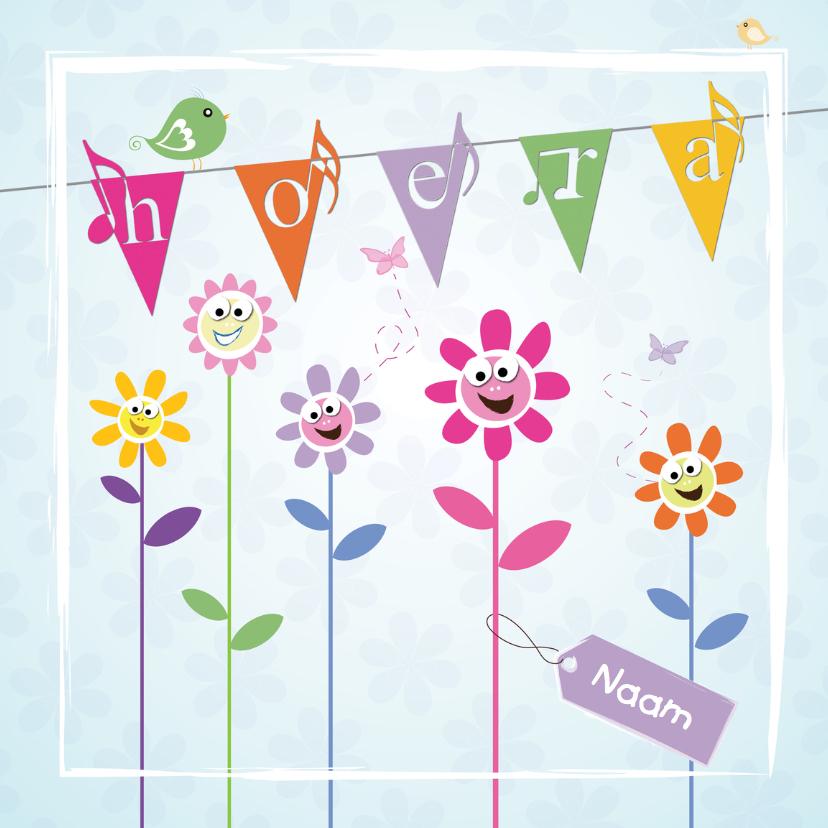 Verjaardagskaarten - Hoera eigen naam met slingers