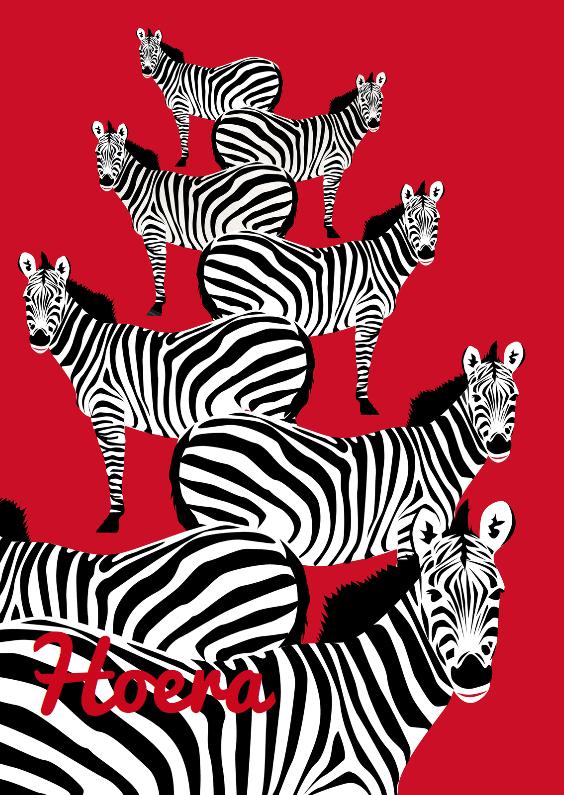 Verjaardagskaarten - Hoera, gefeliciteerd met zebra's