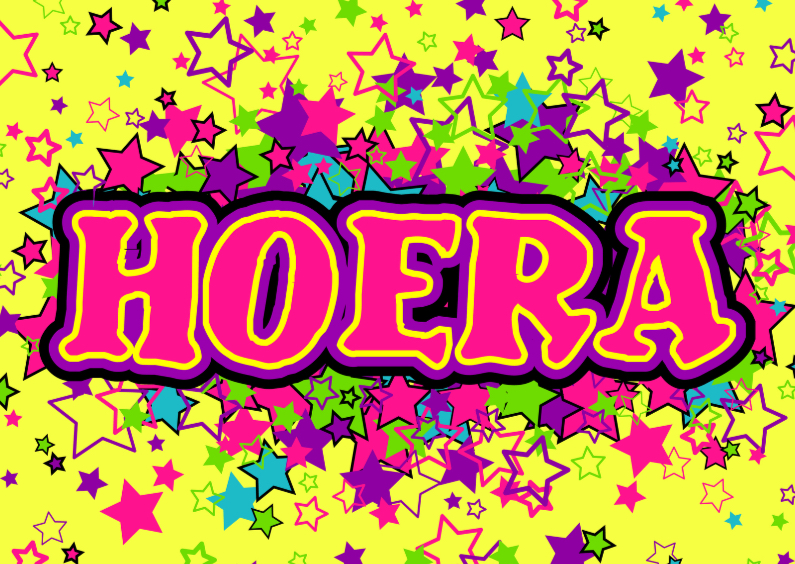 Verjaardagskaarten - HOERA gekleurde sterren