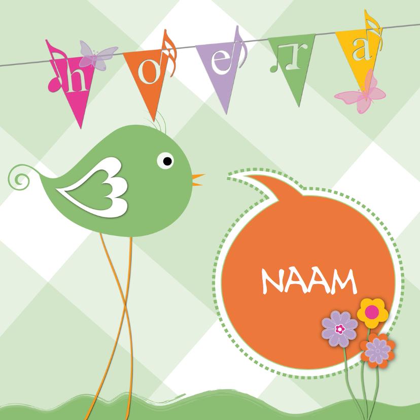 Verjaardagskaarten - hoera vogel met lange poten en naam