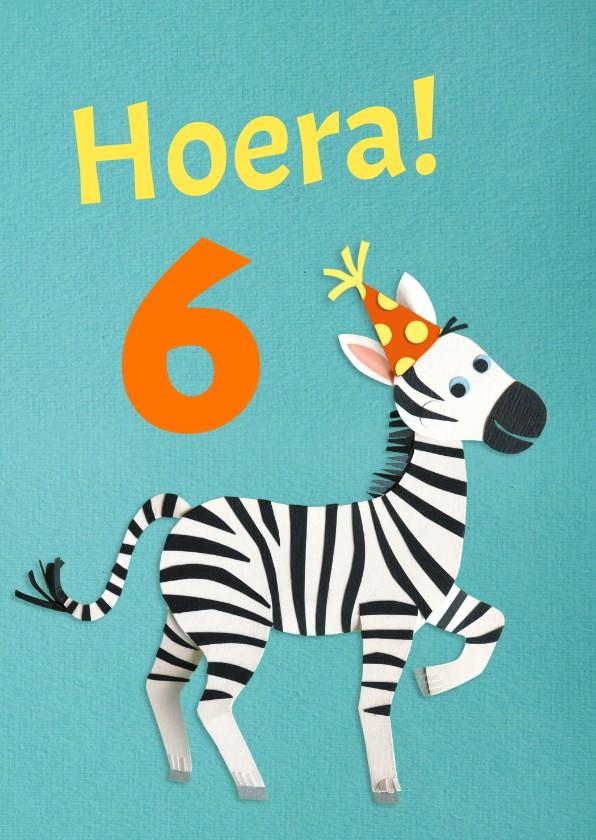 Verjaardagskaarten - Hoera zebra verjaardagskaart