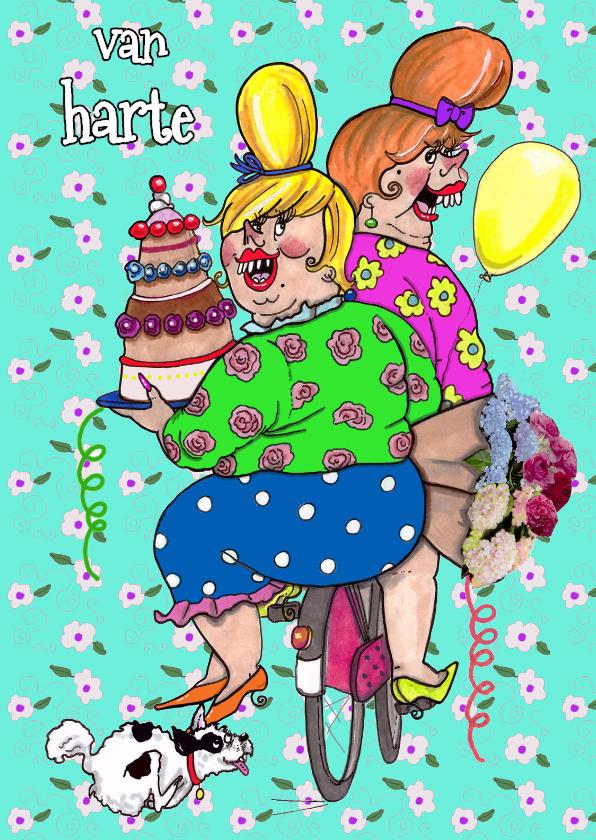 Verjaardagskaarten - hondje met taart en bloemen