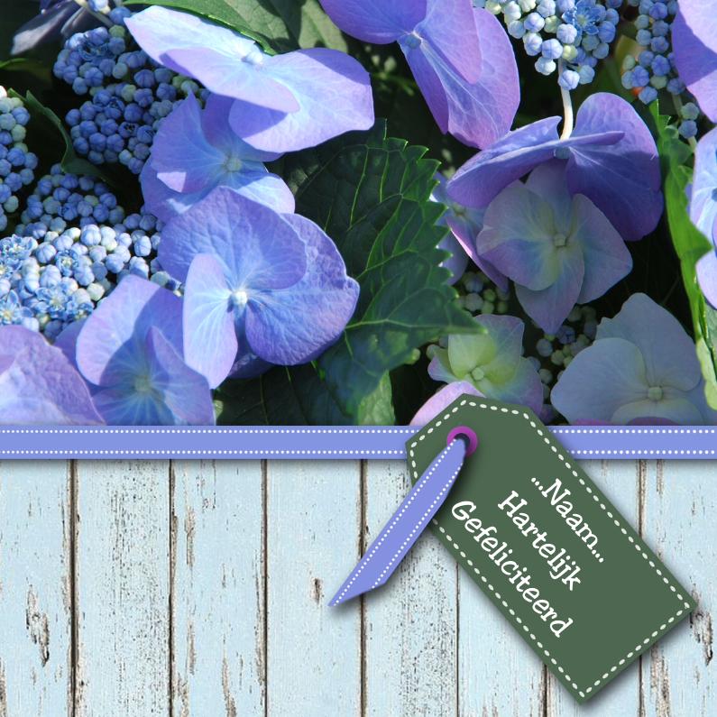 Verjaardagskaarten - Hortensia hout en lint