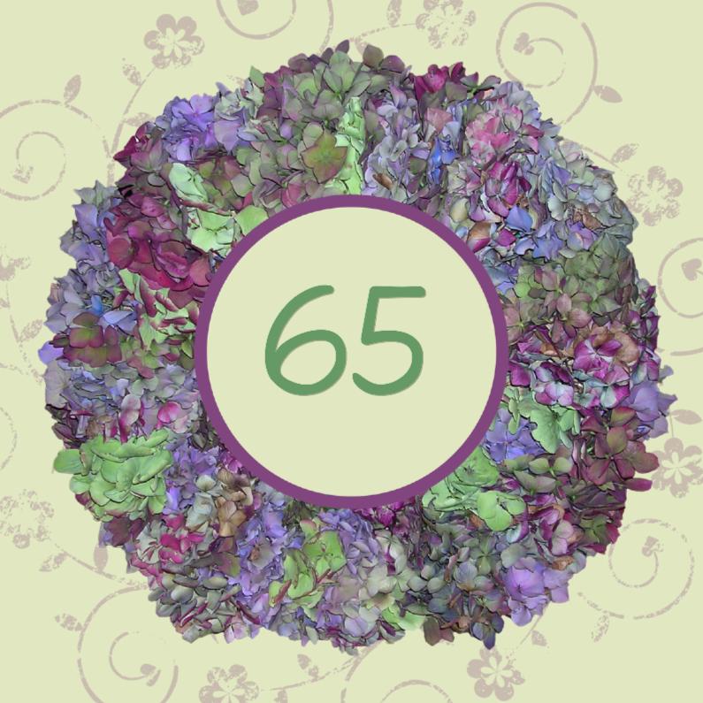 Verjaardagskaarten - Hortensia krans met leeftijd