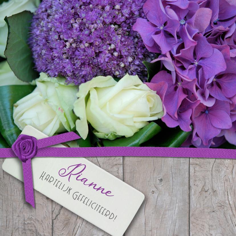 Verjaardagskaarten - Hout lint en paars witte bloemen