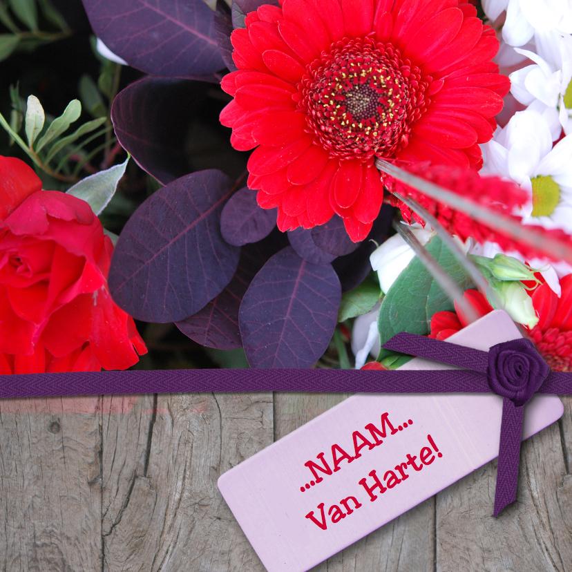 Verjaardagskaarten - Hout lint en rode paars bloemen