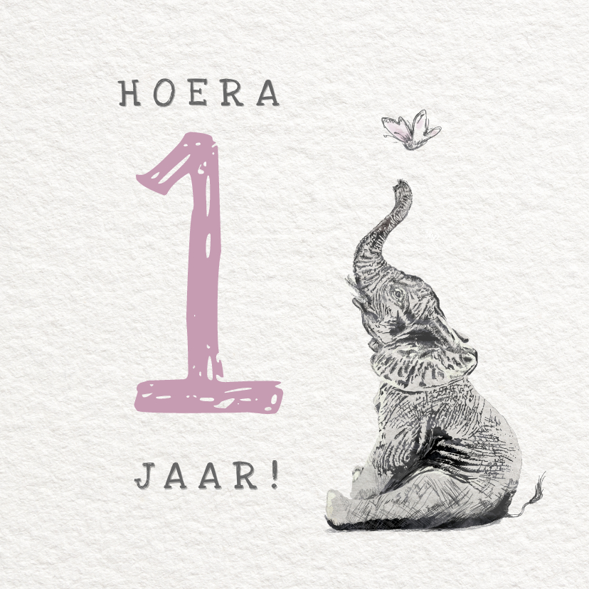 Verjaardagskaarten - Illustratie kaartje met Olifant - Hoera 1 jaar