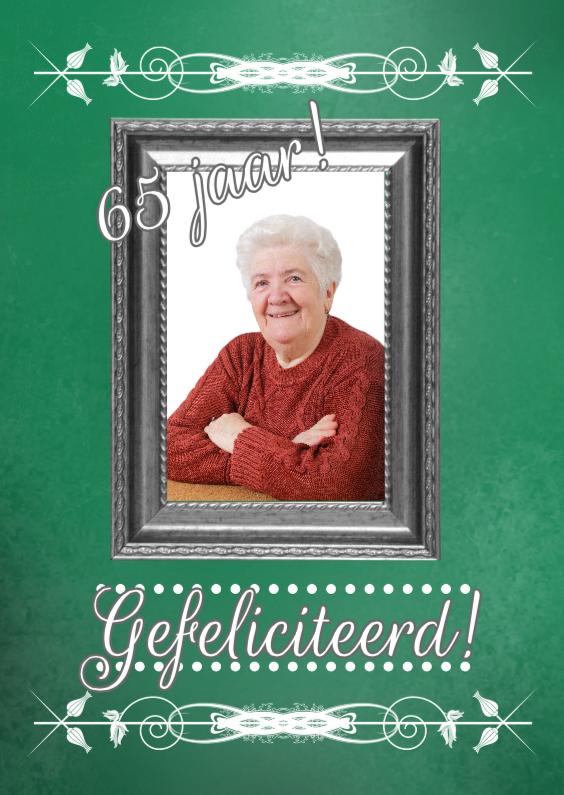 Verjaardagskaarten - Jarig 65 jaar klassiek lijst
