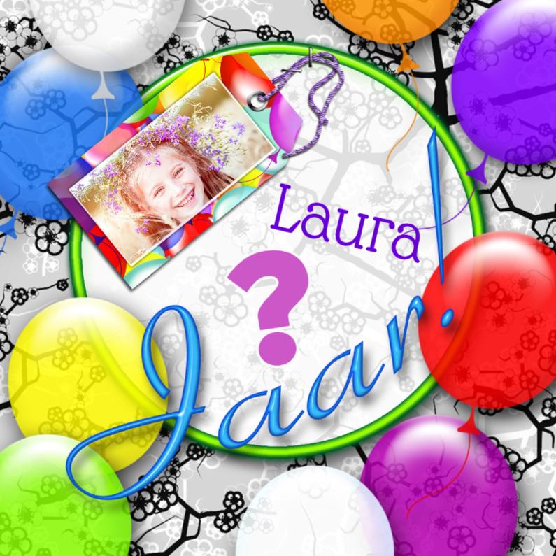 Verjaardagskaarten - Jarig ballonnen en naamkaartje a