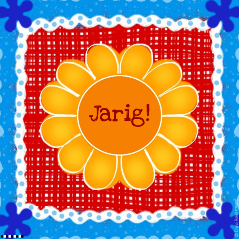 Verjaardagskaarten - Jarig bloem geel