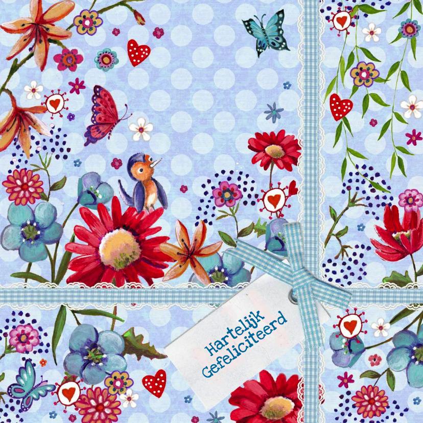 Verjaardagskaarten - Jarig Bloemen Kado Vrolijk Stip Blauw