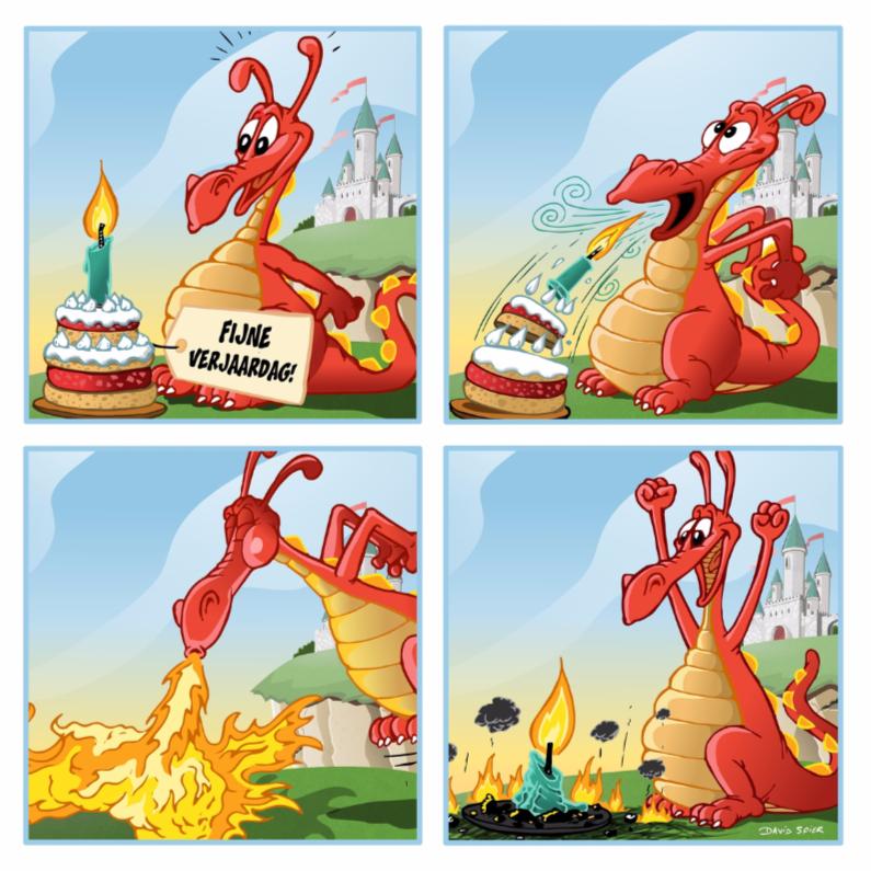 Verjaardagskaarten - Jarig draakje blaast taart uit