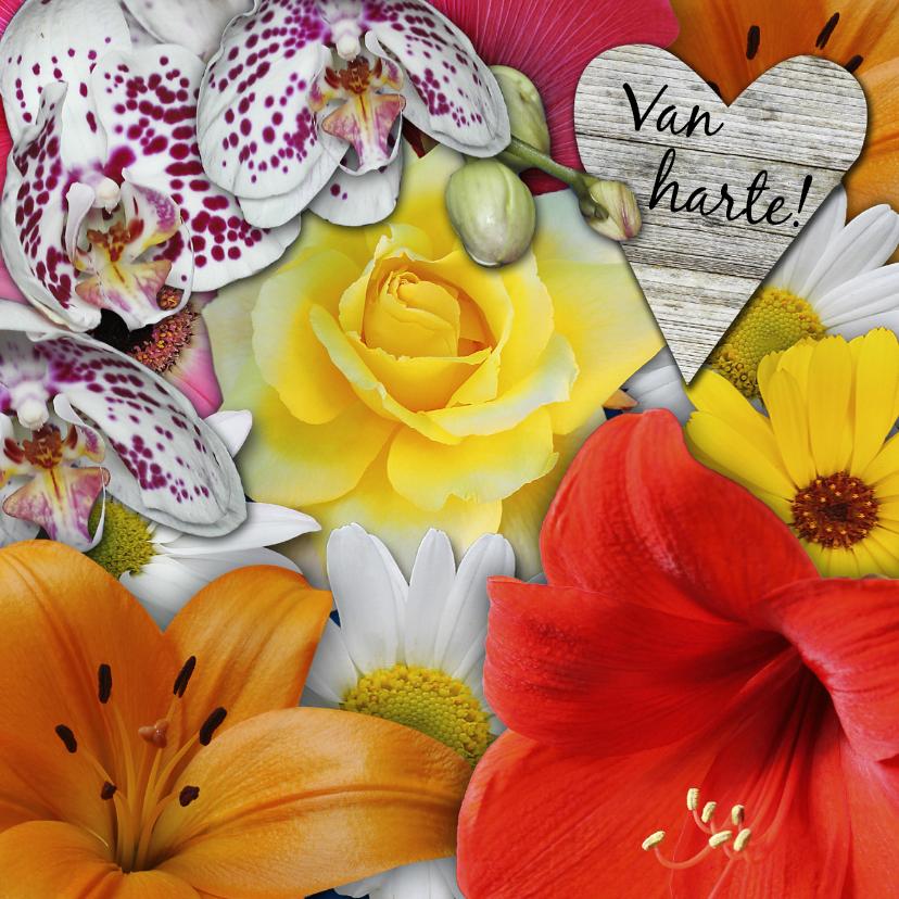 Verjaardagskaarten - Jarig, fleurige bloemen met hart