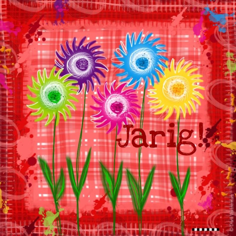 Verjaardagskaarten - Jarig gekleurde bloemetjes