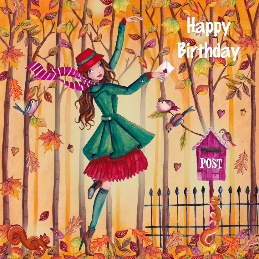 Verjaardagskaarten - Jarig Herfst Meisje Bomen Illustratie