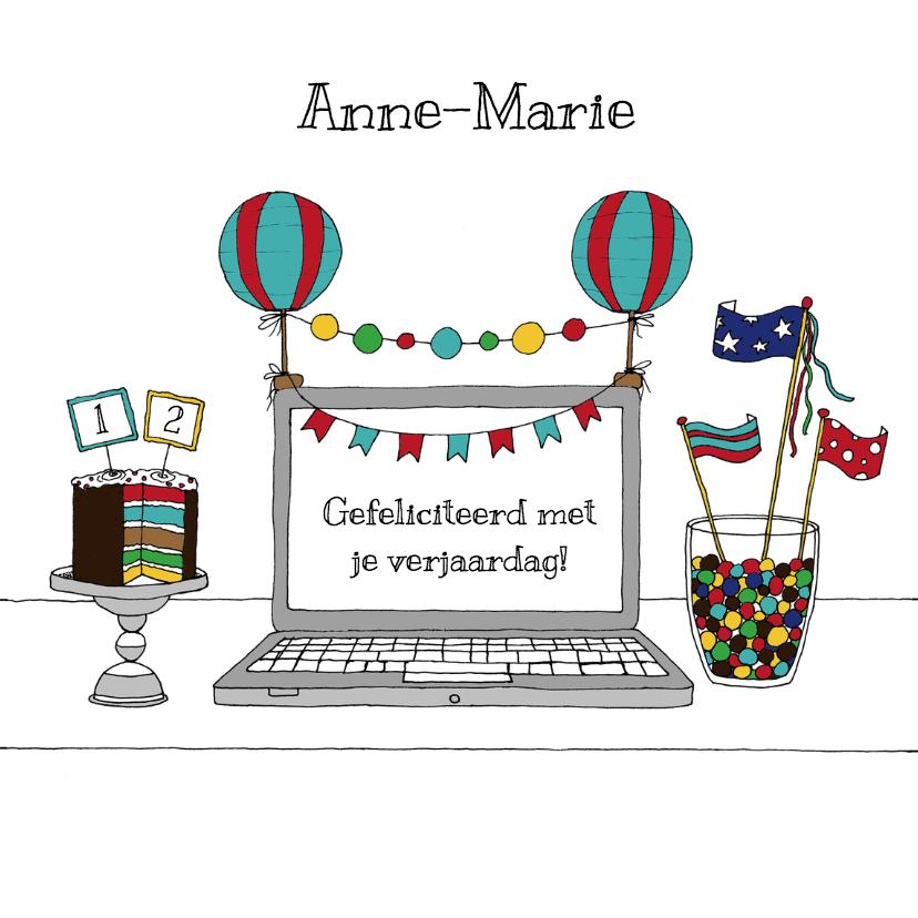 Verjaardagskaarten - Jarig laptop kleurig - HR