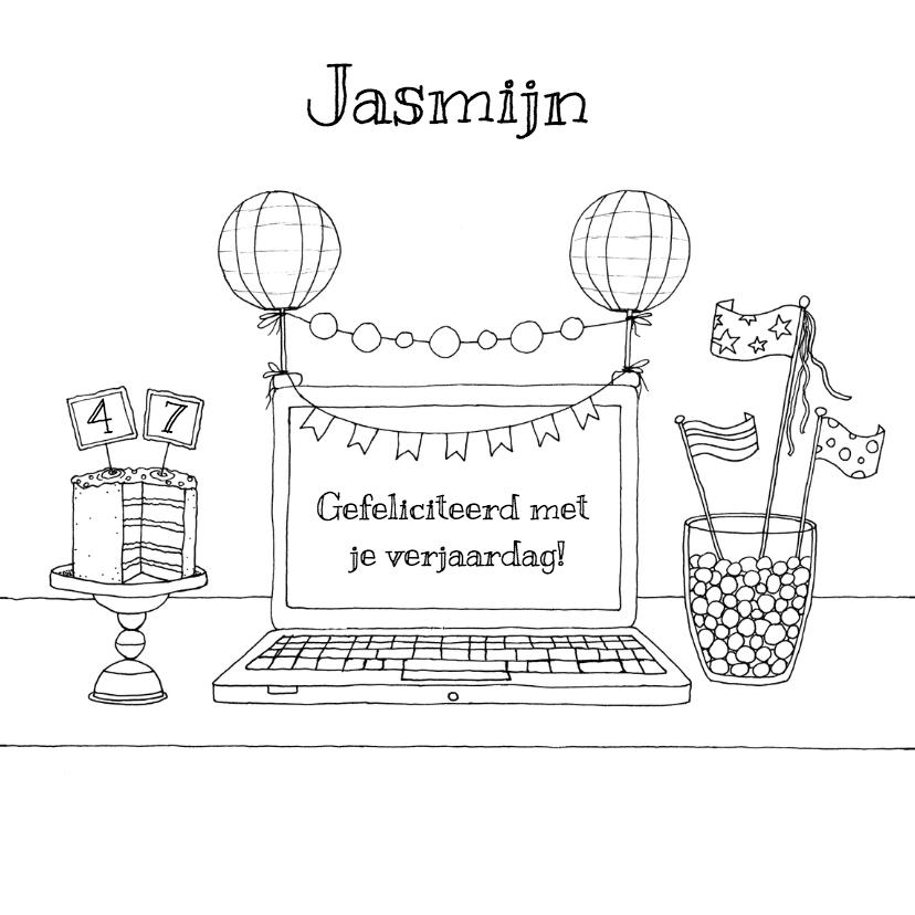 Verjaardagskaarten - Jarig laptop kleurkaart - HR