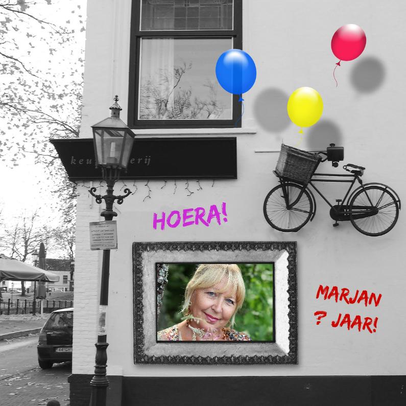 Verjaardagskaarten - Jarig lijst en fiets aan muur a