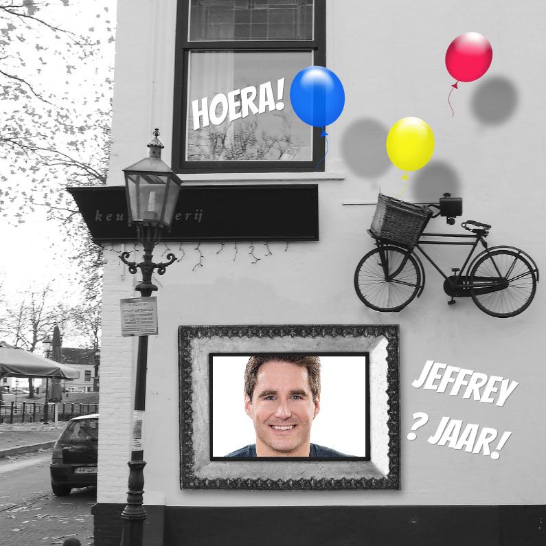 Verjaardagskaarten - Jarig lijst en fiets aan muur b