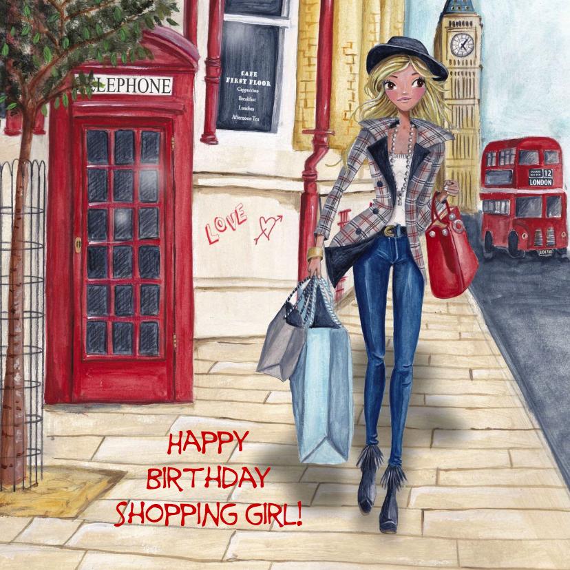 Verjaardagskaarten - Jarig London Shoppen Meisje Illustratie