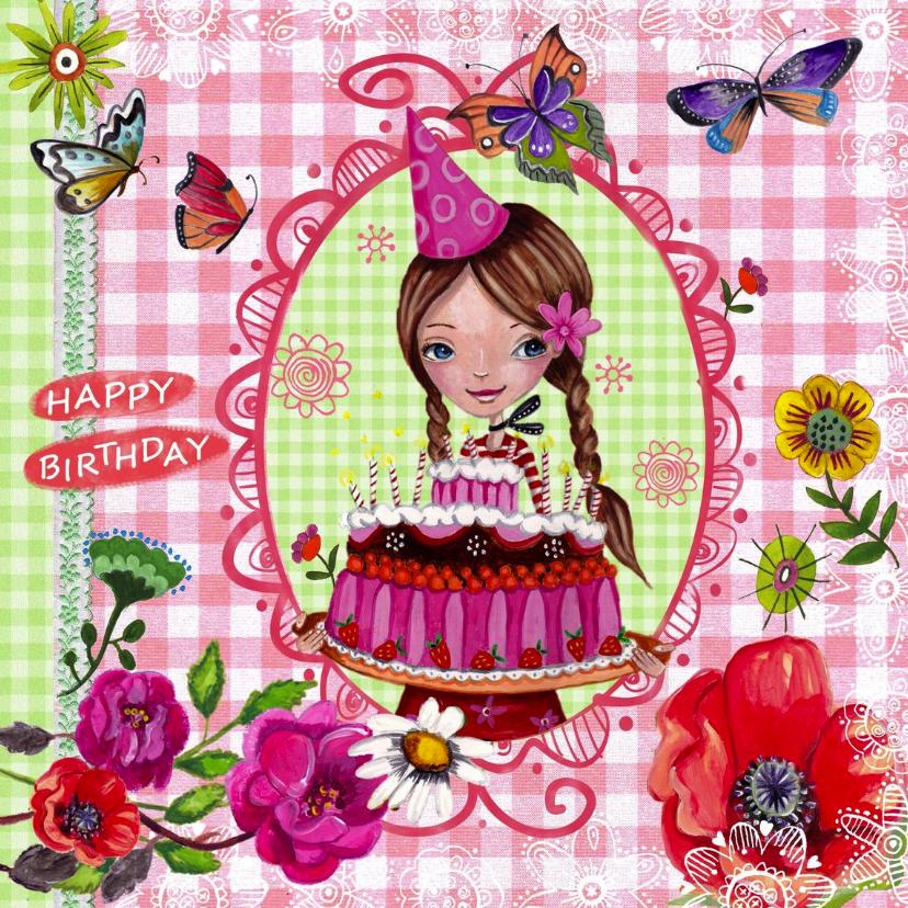 Verjaardagskaarten - Jarig MEISJE bruin Vlinders Illustratie