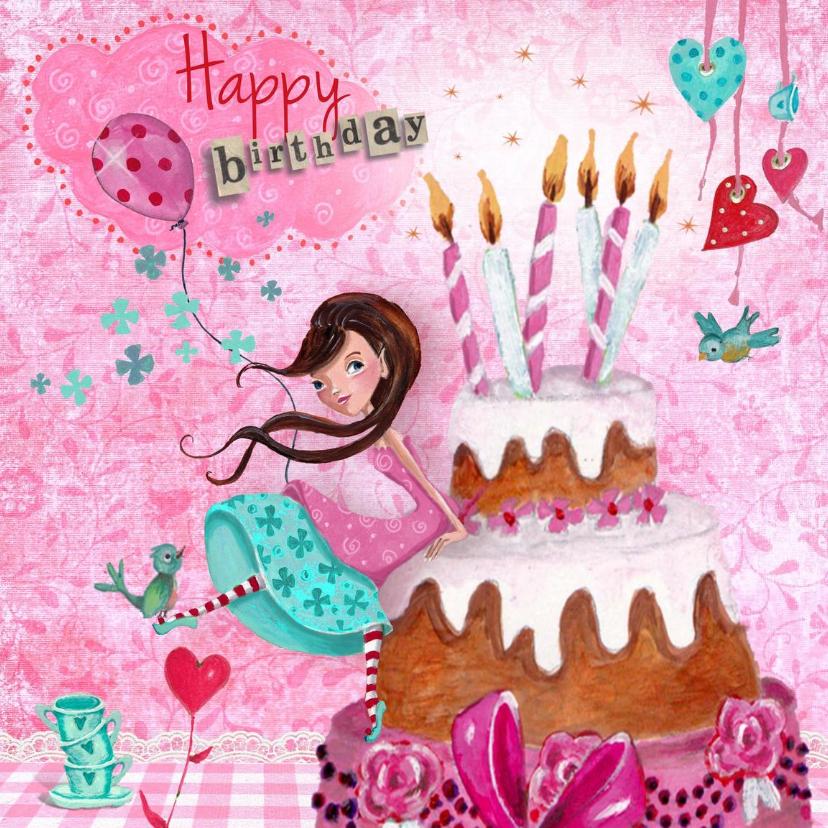 Verjaardagskaarten - Jarig Meisje Taart Kaarsjes Illustratie