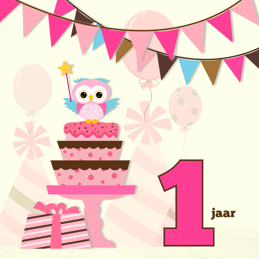 Verjaardagskaarten - Jarig meisje-variabele leeftijd