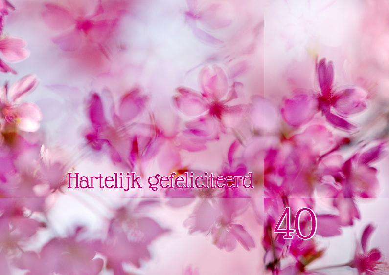 Verjaardagskaarten - Jarig met roze voorjaarsbloesem