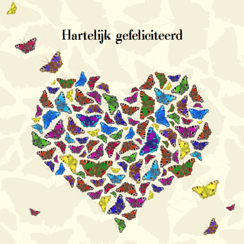 Verjaardagskaarten - Jarig met vlinderhart