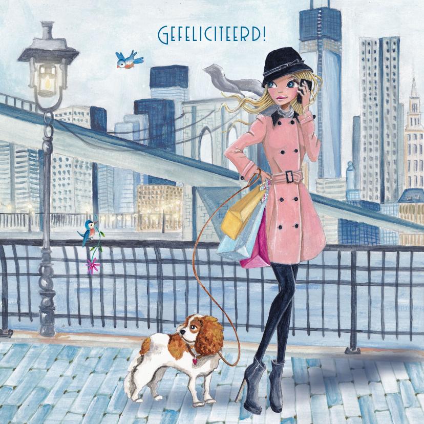 Verjaardagskaarten - Jarig NewYork Shoppen Meisje Illustratie