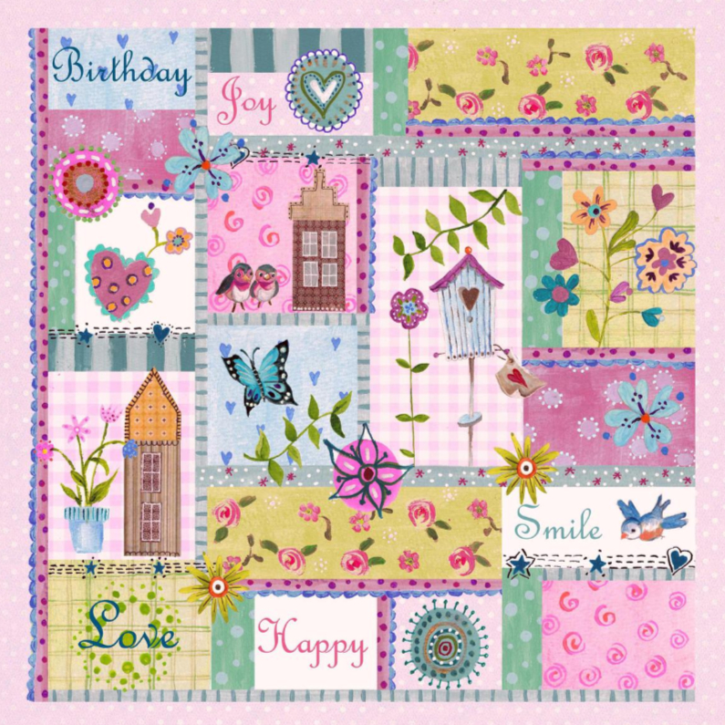Verjaardagskaarten - Jarig Patchwork Vrolijk Bloemen Lente R