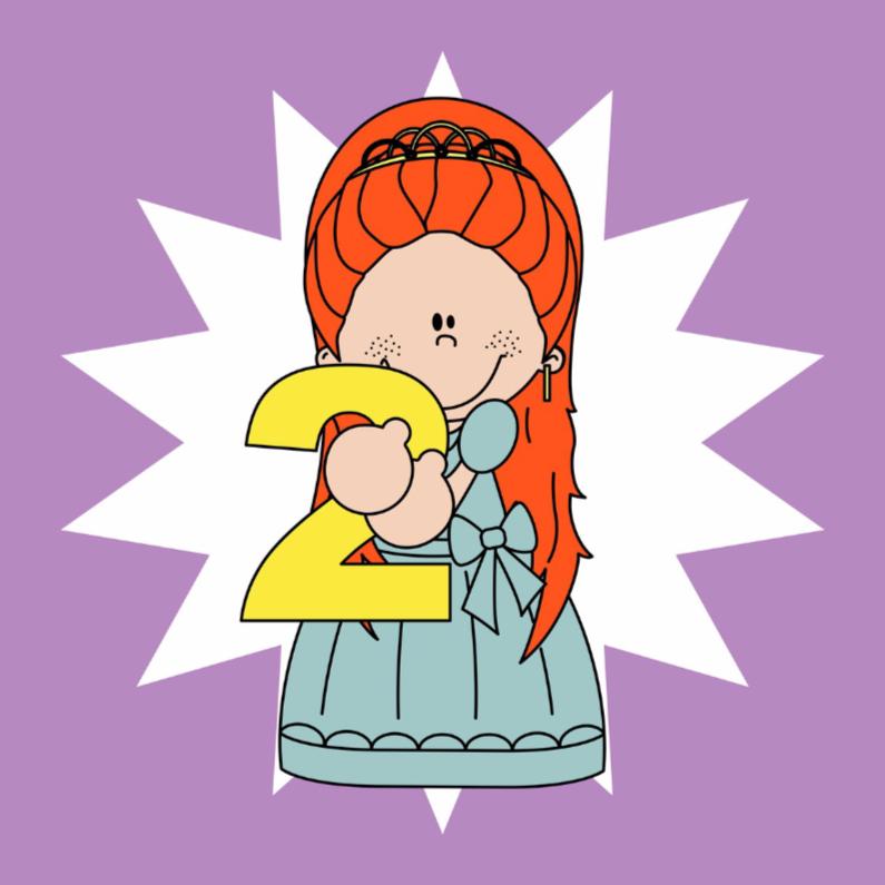 Verjaardagskaarten - Jarig prinsesje, 2 jaar!