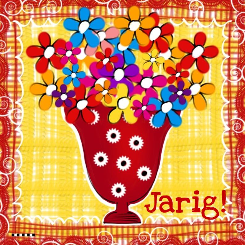 Verjaardagskaarten - Jarig rode vaas met bloemen