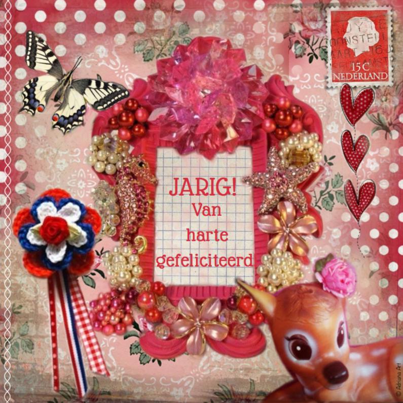 Verjaardagskaarten - Jarig roze kitsch mixed media