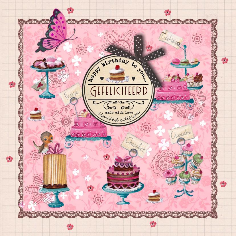 Verjaardagskaarten - Jarig Roze Ruitje Cupcake Vlinder Hart