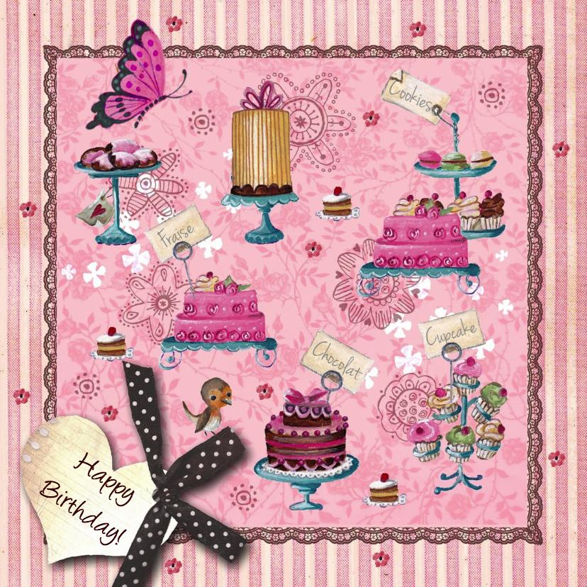 Verjaardagskaarten - Jarig Roze Strepen Cupcake Vlinder Hart