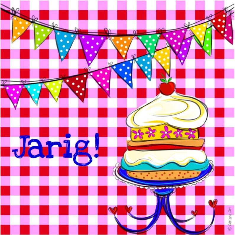 Verjaardagskaarten - Jarig ruitjes taart en slingers