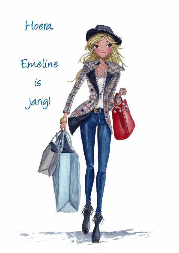 Verjaardagskaarten - Jarig Shoppen Tassen Meisje Illustratie