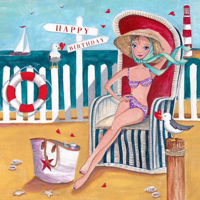Verjaardagskaarten - Jarig Strand Zee Zomer Meeuw Illustratie