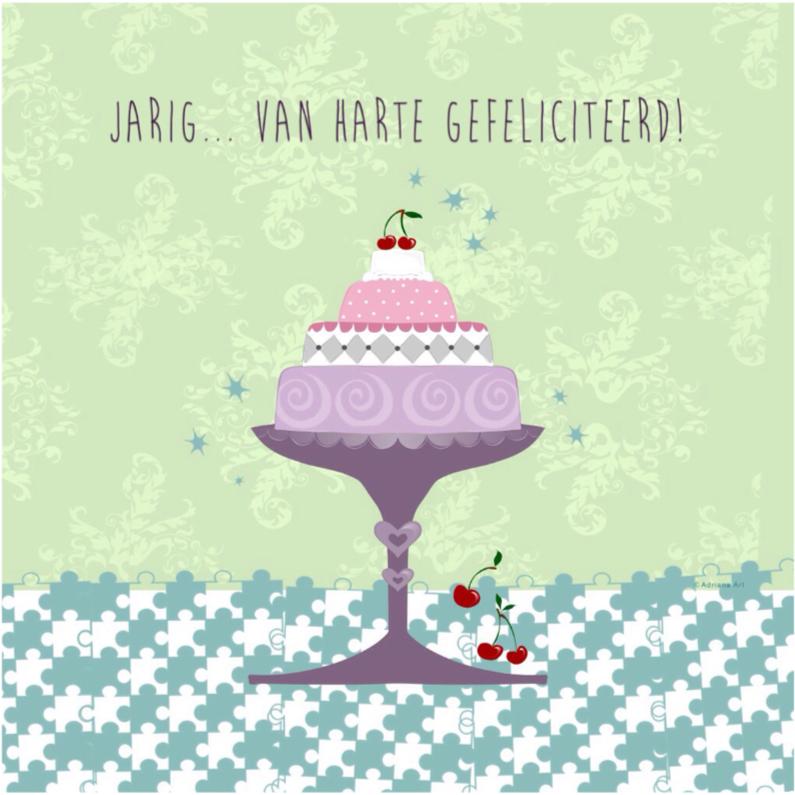 Verjaardagskaarten - Jarig taart pastel