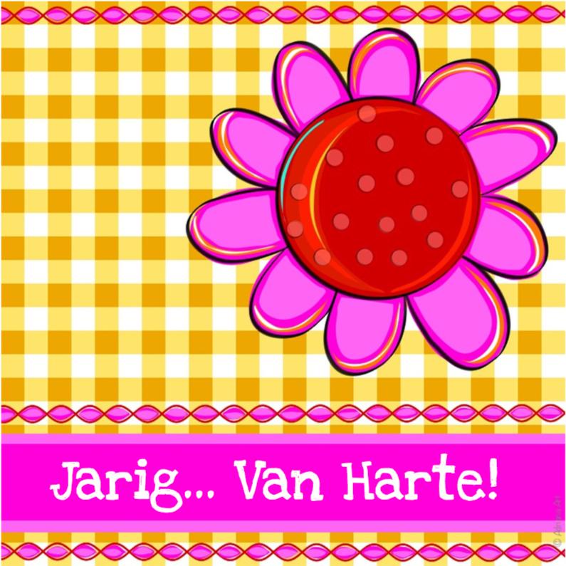 Verjaardagskaarten - Jarig van harte bloem en ruitjes