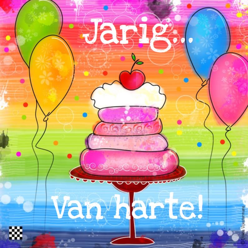 Verjaardagskaarten - Jarig van Harte kleurrijk taart
